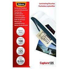 Fellowes 65x95mm Laminating Pouches Capture 125 micron 100-pack Glossy