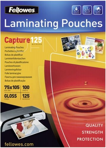 Fellowes Laminating Pouches Capture 125 micron 75x105mm Lamination pouches - 100