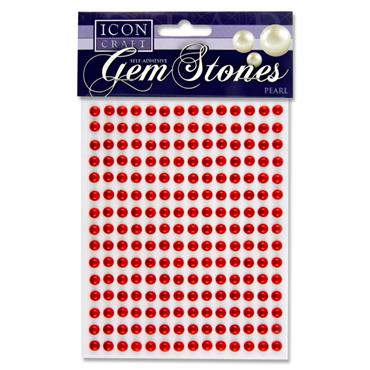 Icon Craft Pkt.210 Self Adhesive Gem Stones 6mm - Pearl Red