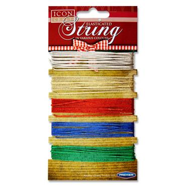 PREMIER ICON CRAFT CARD 5 ELASTICATED STRING - METALLIC