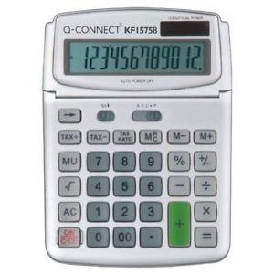 Q-Connect Desktop Calculator - 12 digits - solar panel, battery
